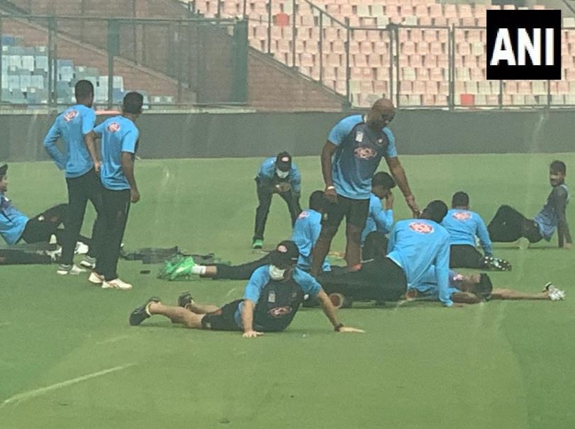 Earlier, Bangladesh batsman Liton Das was spotted training with a face mask on Thursday